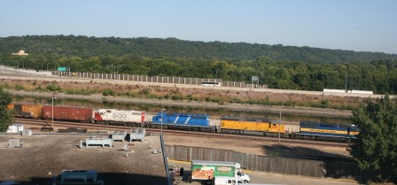 Photo Comment: Above: A Eastbound DMu0026E Freight Train Passes The Hilton  Garden Inn Hotel. The Photo Was Taken From Room # 704, A Perfect View!